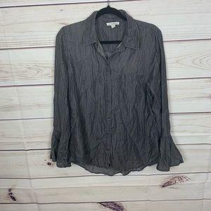 Beachlunchlounge chambray gray blouse nwot